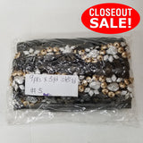 CLOSEOUT! 5 yards Silver Gold Black Stones Trim on Black or White Mesh , COT-021