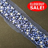 CLOSEOUT! 5 yards Royal Blue Pearls and Clear Rhinestones Beaded Trim on Blue Mesh , COT-024