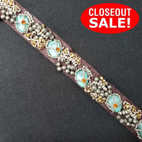 CLOSEOUT! 5 yards Turquoise Stones and Silver Gold Beads on Brown Fabric Backing , COT-027