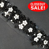 CLOSEOUT! 5 yards Black AB / Black / Gold / Silver Sequins with White Pearls on Black or White Mesh , COT-018