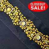 CLOSEOUT! 5 yards Yellow Resin Stones Matt Yellow Beads Trim on Black Mesh , COT-017