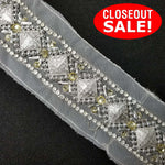 CLOSEOUT! 5 yards Silver Stone Beads Trim on White Mesh , COT-075