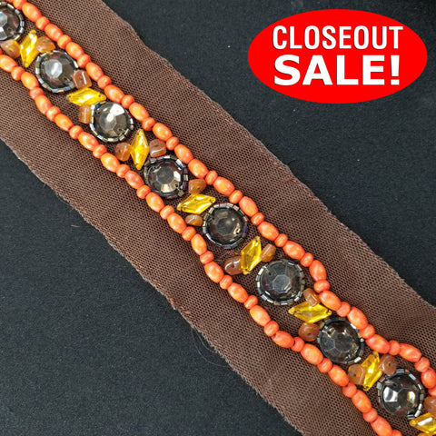 CLOSEOUT! 5 yards Acrylic Stones and Beads Trim on Brown Mesh , COT-020