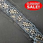 CLOSEOUT! 5 yards Gunmetal Stones Silver Beads Lt Blue Sequins Trim on Black Mesh, COT-054
