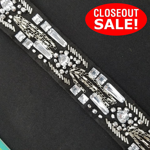CLOSEOUT! 6 yards Clear Stone Beads Silver Chain on Black Felt Fabric Backing , COT-062