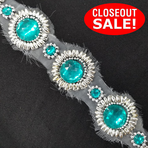 CLOSEOUT! 5 yards Teal Stone with Silver Beads Trim on White Mesh , COT-026