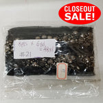 CLOSEOUT! 6 yards Gunmetal Stones Beads on Black Mesh , COT-058