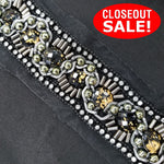 CLOSEOUT! 5 yards Black & Gold 2 Tone Color Stones Green Silver Beads Mixed with Silver Chain Clear Rhinestone Trim Edge , COT-059