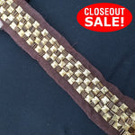 CLOSEOUT! 5 yards Gold Studs Brown Beads Trim on Brown Mesh , COT-089