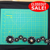 CLOSEOUT! 5 yards Iridescent Stones Black Sequins Flower Trim , COT-085