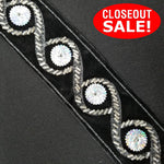 CLOSEOUT! 5 yards Silver Beads on Black Silver Glitter Fabric Backing , COT-083
