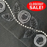 CLOSEOUT! 5 yards Crystal Cup Chain Black Beaded Flower Trim , COT-096