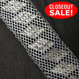 CLOSEOUT! 5 yards Silver Beads on Silver Glitter Mesh Black Fabric Backing , COT-086