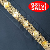 CLOSEOUT! 5 yards Gold, Black, Yellow, Off White Stones Trim on Black or White Mesh , COT-079