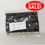 CLOSEOUT! 5 yards Clear Flower Shape Stones on Black Glitter Mesh Fabric Backing , COT-087