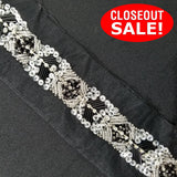 CLOSEOUT! 5 yards Silver and Black Sequins Beaded Trim on Black Mesh , COT-014