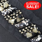 CLOSEOUT! 5 yards Two Tone Color Stones Gold Beads on Black Mesh , COT-092
