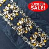 CLOSEOUT! 5 yards Printed Sequins and Acrylic Stones Trim on Black Mesh , COT-019