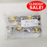 CLOSEOUT! 5 yards Clear Yellow Stones Silver White Beads on White Mesh, COT-074