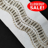 CLOSEOUT! 5 yards Silver Clear Cup Chain Silver Beaded Trim on White Felt Backing ,  COT-099