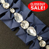 CLOSEOUT! 5 yards Clear Rhinestone Center White Navy Pleated Grosgrain Ribbon Trim , COT-191