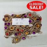 CLOSEOUT! 5 yards Red Purple Gold Stones Gold Braid Trim , COT-164