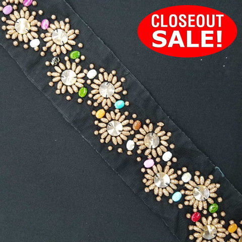 CLOSEOUT! 5 yards Metallic Gold Beads Clear Stones Trim on Black Mesh , COT-168