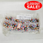 CLOSEOUT! 5 yards Multi Color Beads Trim on White Mesh , COT-160