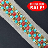 CLOSEOUT! 6.5 yards Red Turquoise Gold Beads Trim on White Mesh , COT-163