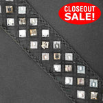 CLOSEOUT! 5 yards Gunmetal Stones Clear Sequins Trim , COT-180
