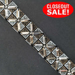 CLOSEOUT! 5 yards Silver Stones on Silver Gold Glitter Fabric Trim , COT-183