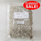 CLOSEOUT! 12 yards White Sequins Beads Beaded Lace Trim , COT-194
