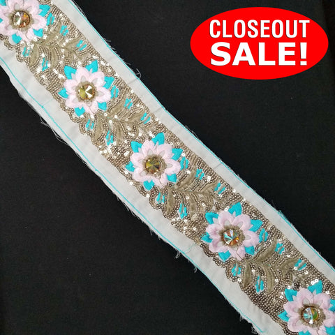 CLOSEOUT! 5 yards Gold Sequins Pink Blue Flower Embroidered Trim , COT-238