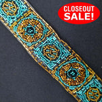 CLOSEOUT! 5 yards Gold Turquoise Beaded Trim , COT-206