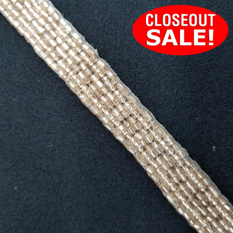 CLOSEOUT! 15 yards Champagne Beaded Trim , COT-221