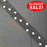 CLOSEOUT! 5 yards Black Pearls Silver/Crystal Stones Trim on Black Mesh , COT-240