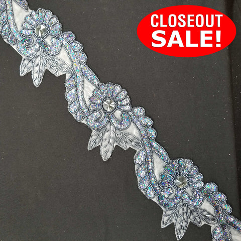 CLOSEOUT! 5 yards 3.75'' Wide Floral Sequins Beaded Trim , COT-213
