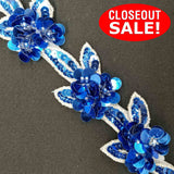 CLOSEOUT! 5 yards Royal Sequin Flower Beaded Trim , COT-211