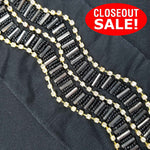 CLOSEOUT! 5 yards Gold/Clear Cup Chain Black Beaded Trim on Black Mesh , COT-154