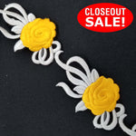 CLOSEOUT! 5 yards Yellow Floral Embroidered Trim , COT-123