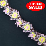 CLOSEOUT! 5 yards Pink Yellow Floral Embroidered Trim , COT-126