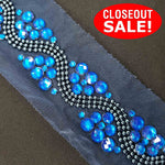 CLOSEOUT! 5 yards Wave Studs Stones Trim , COT-250