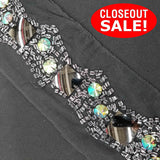 CLOSEOUT! 5 yards Crystal AB Gunmetal Stones Clear Beads Trim on Black Mesh , COT-246