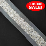 CLOSEOUT! 5 yards Clear Stones Silver Beads Beaded Trim , COT-277