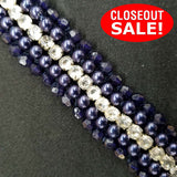 CLOSEOUT! 5 yards Clear Rhinestones Red Navy Pearls Beads Trim , COT-261