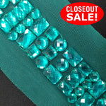 CLOSEOUT! 5 yards Teal Lt Col Topaz Stones on Mesh Trim , COT-260