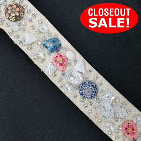CLOSEOUT! 5 yards Crystal AB Rhinestones Clear Black Mesh Covered Stones Trim , COT-270