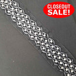 CLOSEOUT! 5 yards Black White Beads Clear Rhinestone Trim on Black or White Mesh , COT-151