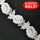 CLOSEOUT! 10 yards Clear Sequins Beads White Floral Lace Trim , COT-279