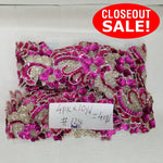 CLOSEOUT! 10 yards Pink & Silver Floral Beaded Sequin Trim , COT-034